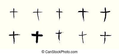 Hand-drawn black cross