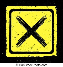 Hand drawn black cross sign on yellow,