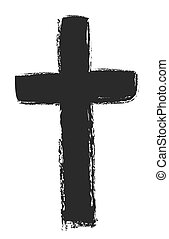 hand drawn black cross, vector