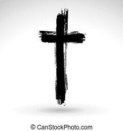 Hand drawn black grunge cross icon, simple Christian cross...