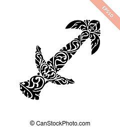 Hand drawn black ornate horoscope symbol - Sagittarius. Zodiac icon.