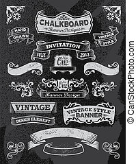 Hand drawn blackboard banner set