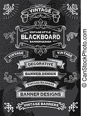Hand drawn blackboard banner set