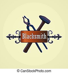 Hand drawn blacksmith labels with sledgehammer, hammer and...
