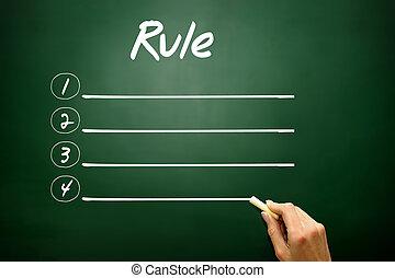 Hand drawn Blank Rule list concept on blackboard