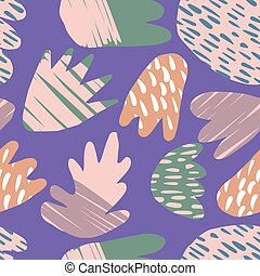 Hand drawn blots backdrop. Contemporary floral seamless pattern.