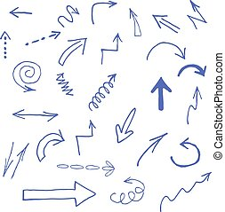 Hand drawn blue arrows icons set on white
