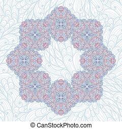 Hand drawn blue floral garland