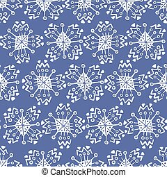 Hand drawn blue pattern with white snowflakes