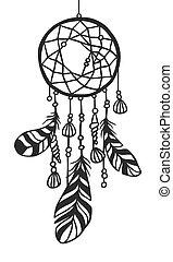 Hand drawn boho Dream catcher - Black contour Dream catcher...