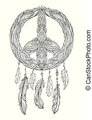 Hand drawn boho illustration of dream catcher with pacific sign and feathers.