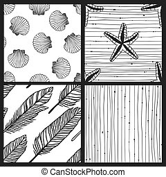 Hand drawn boho illustration. Set of seamless pattern with...