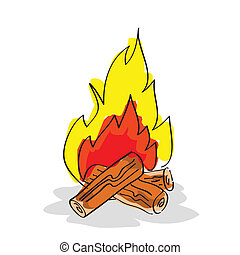 Hand drawn bonfire on white background