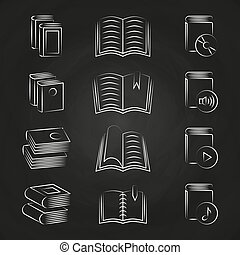 Hand drawn books icons on chalkboard design