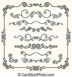hand-drawn, bordo, doodles, set, vettore, linea