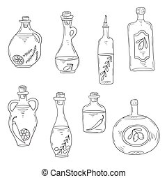Hand-drawn bottle of oil and olives
