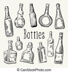 Hand Drawn Bottles Doodle. Wine, Cognac Bottle Sketch. Vector illustration