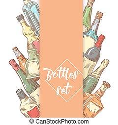 Hand Drawn Bottles Menu Design. Wine, Cognac Bottle Sketch. Vector illustration