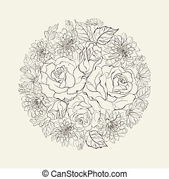 Hand drawn bouquet of roses.