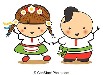 Hand-Drawn Boy and Girl Dance On A White Background, Cartoon Doodle. Ukraine