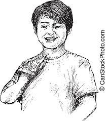 hand drawn boy eating pizza