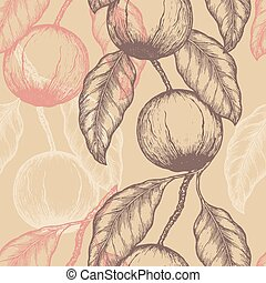 Hand drawn Brazil nuts Seamless pattern. Branch of almonds. Vector illustration