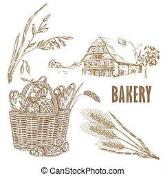 Hand drawn bread, farm house, oats
