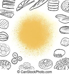 Hand drawn bread icons on vintage background