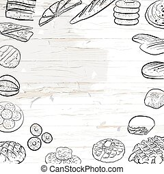 Hand drawn bread icons on wooden background
