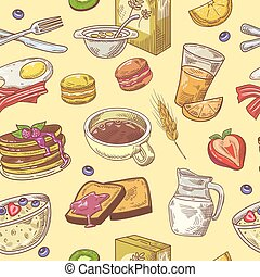 Hand Drawn Breakfast Seamless Pattern with Coffee, Fruits and Toasts. Healthy Food Background. Vector illustration