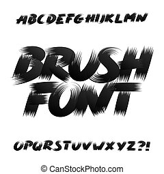 Hand drawn brush stroke alphabet font. Uppercase dirty grunge letters. Isolated on white background. Stock vector typeface.
