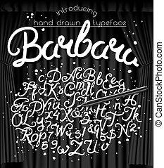 Hand drawn brushpen typeface Barbara. Handwritten script font. Hand lettering custom typography with pen