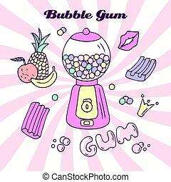 Hand drawn bubble gum machine with gumballs, bubblegum and...
