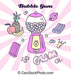 Hand drawn bubble gum machine with gumballs, bubblegum and...