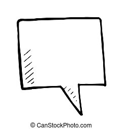Hand drawn bubble speech, vector doodle isolated sign
