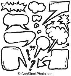 hand drawn bubble speech, vector