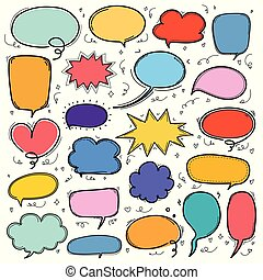 Hand Drawn Bubbles Set. Doodle Style Comic Balloon, Cloud Shaped Design Elements.