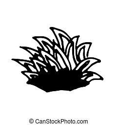 Hand drawn bunch of grass. Vector illustration. Black ...