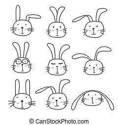 Hand Drawn Bunny Cute Characters Set.