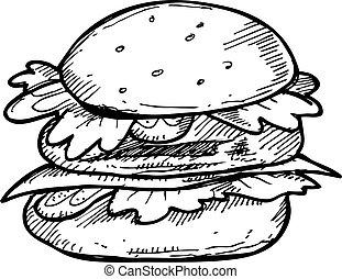 hand drawn burger