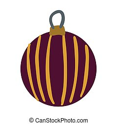 Hand drawn burgundy ball with golden stripes