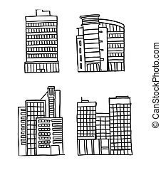 Hand drawn Business Buildings