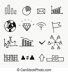 Hand drawn business doodle sketches infographic elements