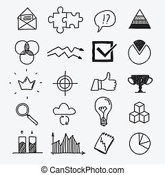 Hand drawn business doodle sketches infographic elements.