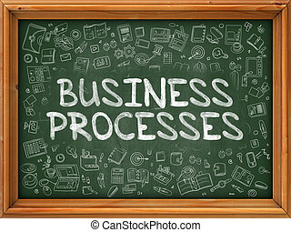 Hand Drawn Business Processes on Green Chalkboard. Hand...