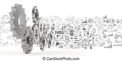hand drawn business strategy 3d gear to success as concept
