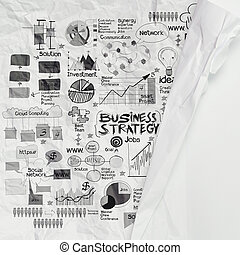 hand drawn business strategy on crumpled paper as concept
