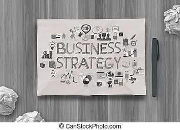 hand drawn business strategy on crumpled paper background as concept