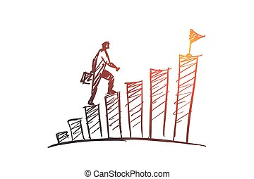 Hand drawn businessman climbing stairs to the top