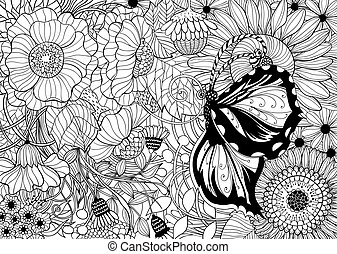 Hand drawn butterfly on floral background